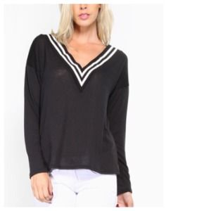 Sweaters - Black & White Varsity Loose Knit Sweater