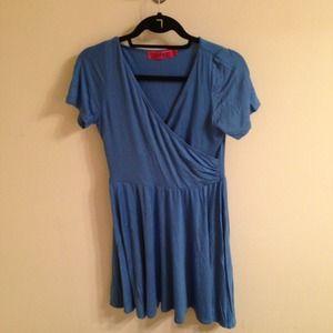 Boohoo Blue Wrap Skater Dress