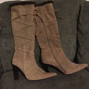 Steve Madden suede high heeled boots faux fur trim