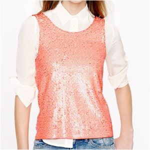 J. Crew Heathered sequin tank in neon peach pink