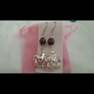 Jewelry - Unique silver & teak wood earrings