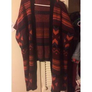 Tribal print knot high low kimono