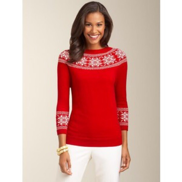 82% off Talbots Sweaters - Talbots Red Audrey Snowflake Sweater ...
