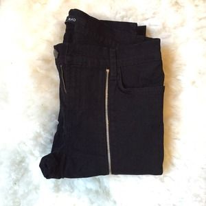J Brand Black Denim Zip Leg Skinny Ankle Jeans