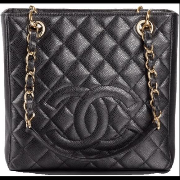 e2340c15535a CHANEL Handbags - CHANEL Caviar Petit Shopping Tote Black gold chain