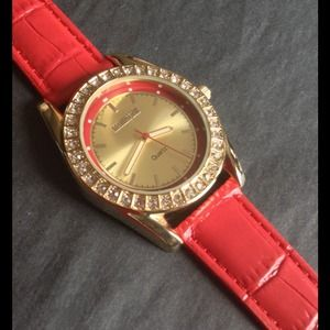 Croton Accessories - ❤️Ravishing Red/Gold Leather Watch❤️