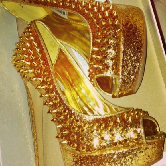 Steve Madden - Steve Madden Gold Studded Heels sale!!👠 from