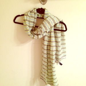 Grey and neon striped scarf