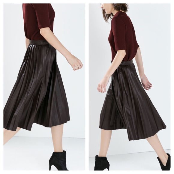 38% off Zara Dresses & Skirts - [Zara]faux leather pleated midi ...