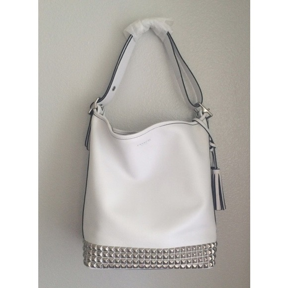 51% off Coach Handbags - Legacy leather studded duffle - white ...