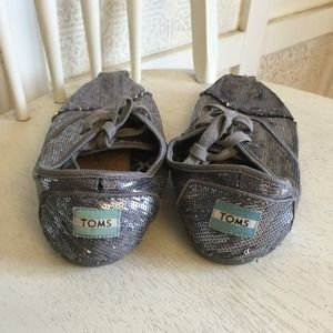 a3fdfa88748 TOMS Shoes - TOMS slip on (or tie) sequin shoes