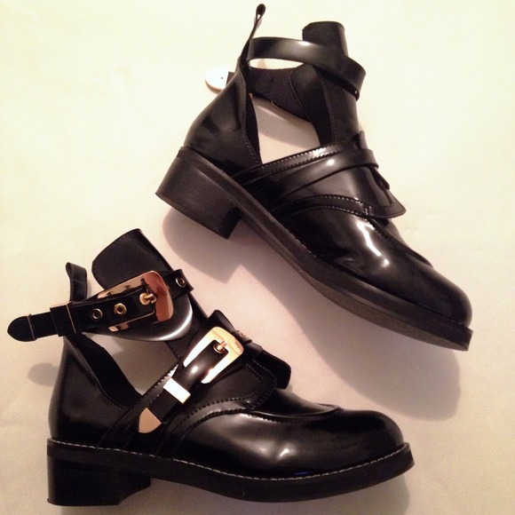 exclusive range get cheap size 40 Balenciaga Inspired Cut Out Gold Buckle Boots