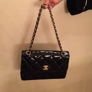 Chanel patent leather classic flap handbag