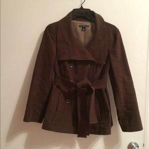 Brown cotton twill short trench coat