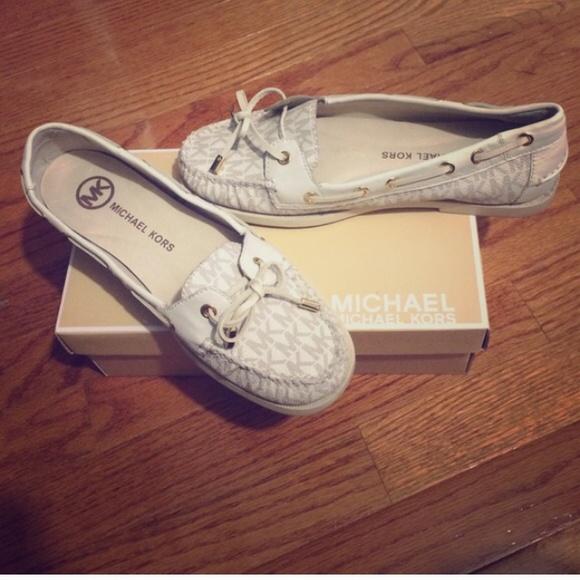 Michael Kors White Signature Boat Shoes