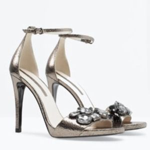 ZARA Jeweled Sandals with Ankle Strap