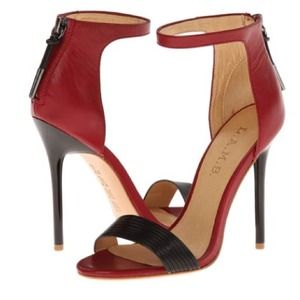L.A.M.B. Shoes - L.A.M.B. Red and Black Single Strap Sandals