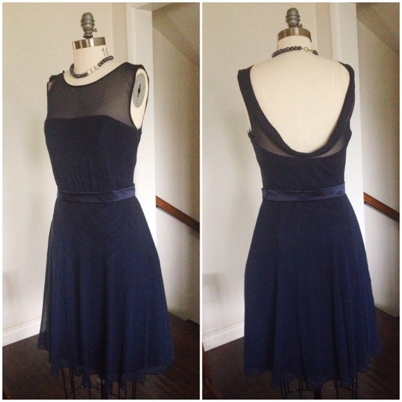 89% off Dessy Dresses &amp Skirts - MIDNIGHT BLUE CHIFFON COCKTAIL ...