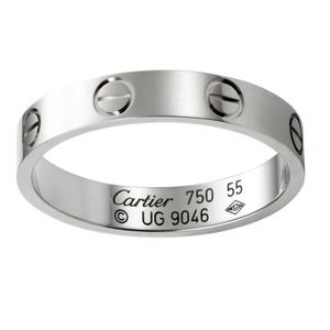 MINT Cartier Love Ring 750 White Gold Band 51 5.75