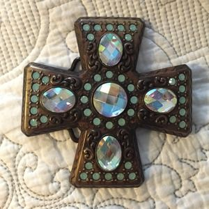 Accessories - Turquoise gem Cross belt buckle