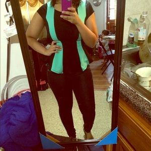 color block peplum top