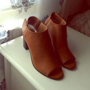 Brown faux leather open toe bootie