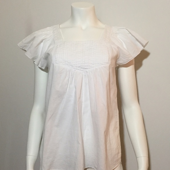 Tops - White Lightweight Short Sleeve w/ Flared Sleeves