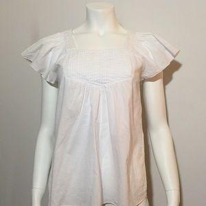 Tops - White Lightweight Short Sleeve w/ Flared Sleeves