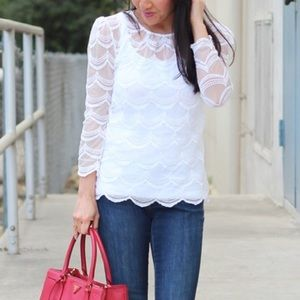 Scalloped lace white top