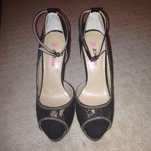 Black gold lace heels NWOT