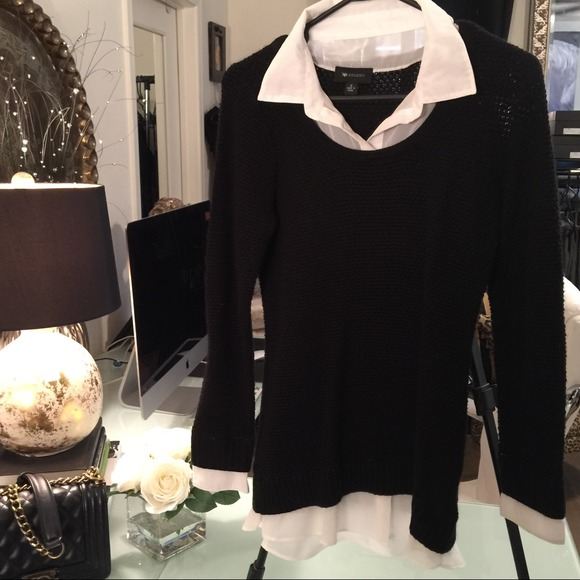Black Sweater With White Collar Built In Sale