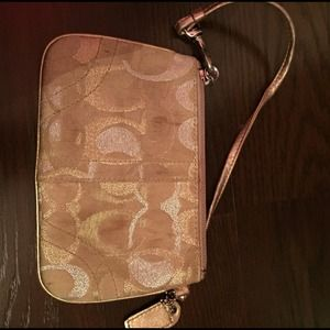 Coach gold metallic wristlet