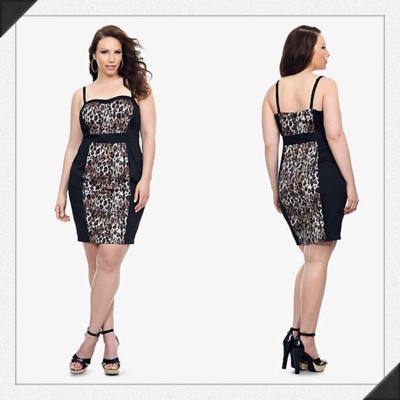 49 off torrid dresses amp skirts torrid black amp leopard bodycon dress