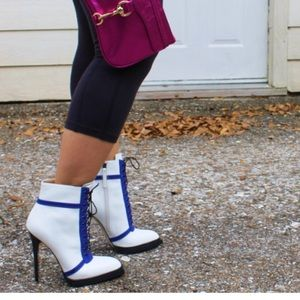 Blue Black White Laced-Up Booties