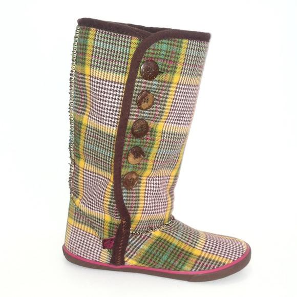 Shoes | Yellow Plaid Sugar Boots Sz 5