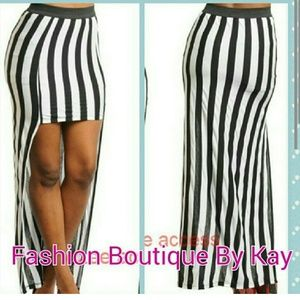 Sexy black and white stripe high and low skirt
