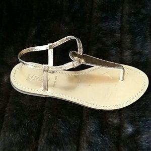 J Crew Gold Thong Sandals