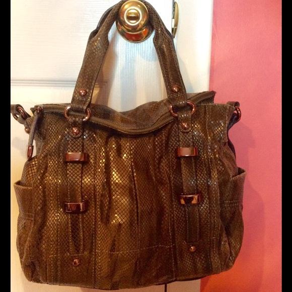 b. makowsky Bags   B Makowsky Olive Green Snakeskin Leather Bag ... ef37053eee