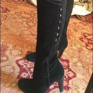 Black suede boots w buttons down side