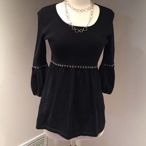 Kenar Sweaters - FLASH SALE:  Black sweater top with silver studs