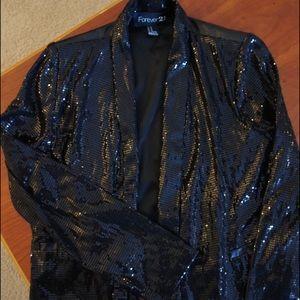 Sequins tuxedo jacket