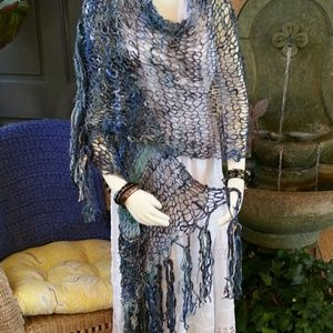 Mermaid Waters Hand Spun/Knit Shawl Shell-Adorned