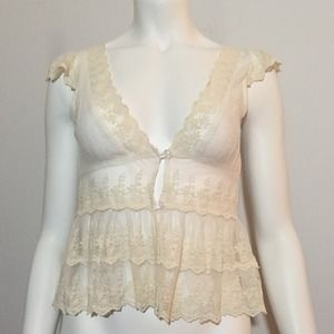 Tops - Cream Bohemian Lace Top/ Vest with Buttons