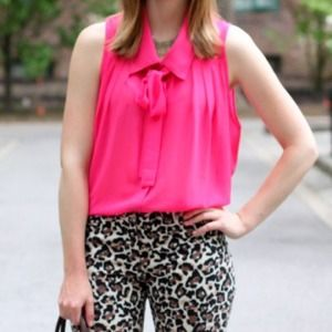 Tops - Pink bow blouse