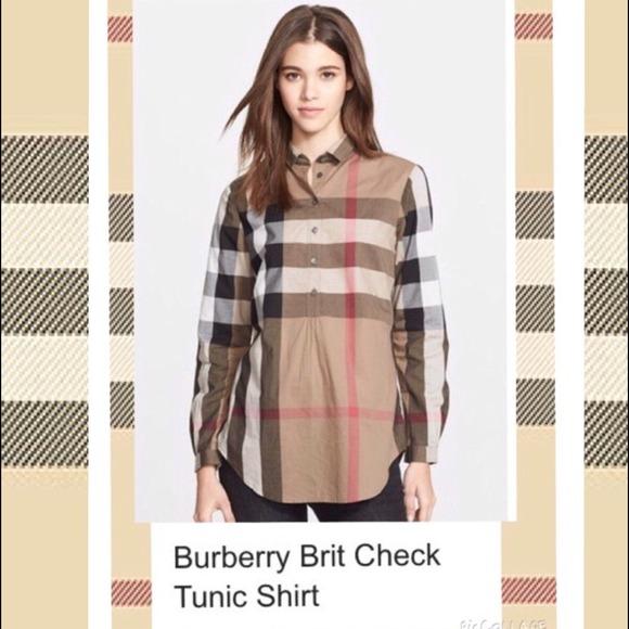ebb067b8ec1 Burberry Brit Tops | Nova Check Tunic Shirt Size L M | Poshmark