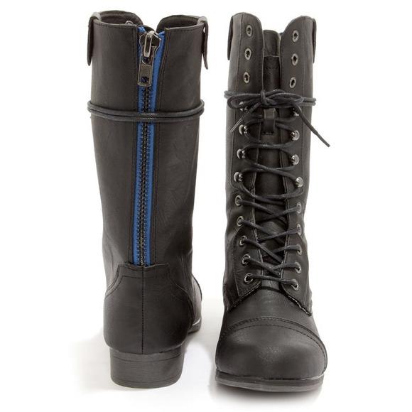 68% off Madden Girl Boots - Madden Girl Gamblez Black Pari LaceUp ...