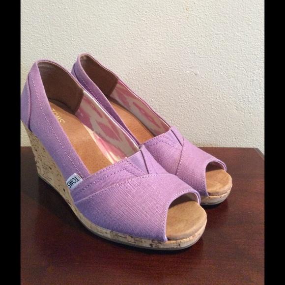 Toms Shoes One Hour Sale Purple Wedge Poshmark