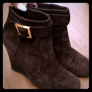 Tory Burch wedge booties chocolate brown