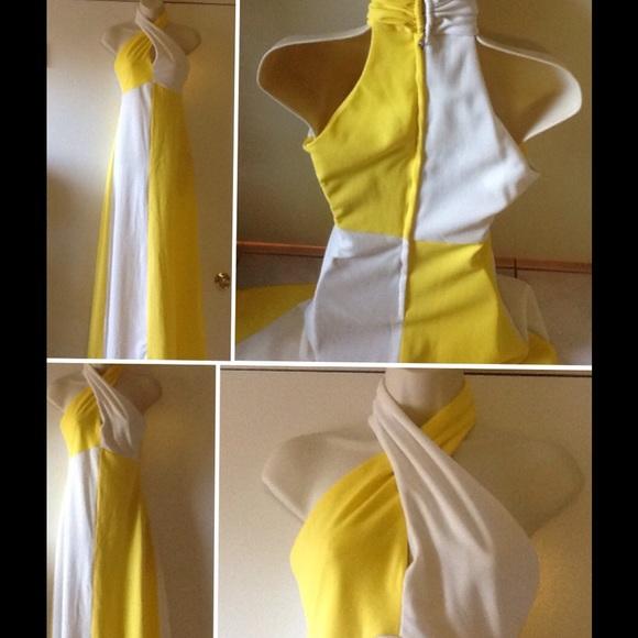 Vintage 70s Hippy Disco Retro Maxi Gown Mod Dress