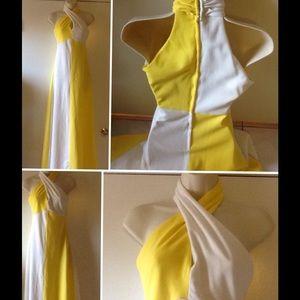 Vintage 70's Hippy Disco Retro Maxi Gown Mod Dress